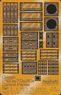 Classic 1960s, 70s, 80s Control Panels, Set 1-1/32-1/35 Scale