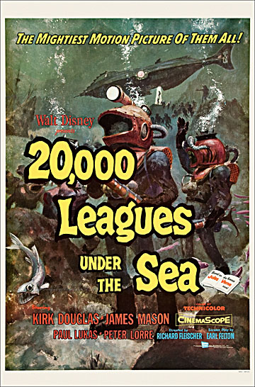 20,000 Leagues Under The Sea 1954 One Sheet Poster Reproduction