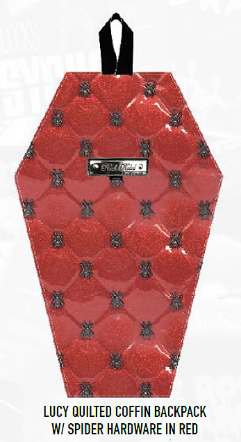 Coffin Shaped Back Pack Handbag Quilted Spider Hardware Red by Lucy