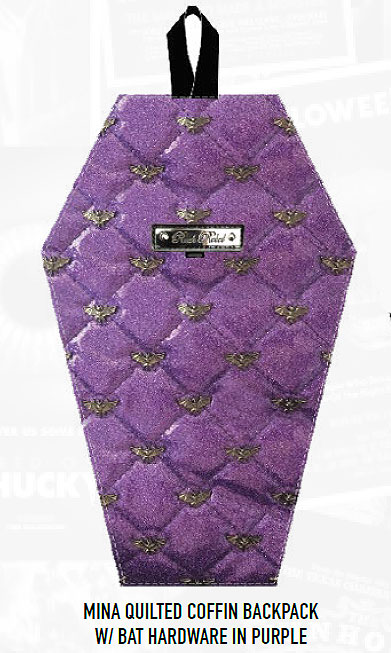 Coffin Shaped Back Pack Handbag Quilted Bat Hardware Purple by Mina