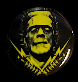 Frankenstein Bolts Boris Karloff Monster Button