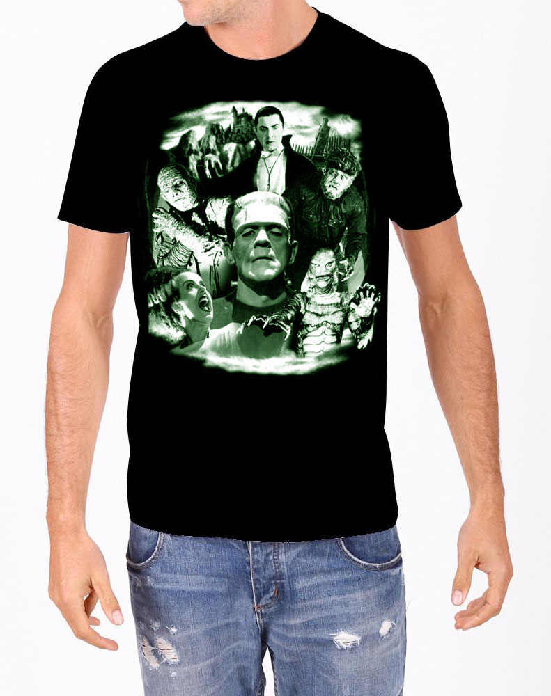 Universal Monsters Collage GLOW-IN-THE-DARK T-Shirt Dracula, Frankenstein, Mummy, Creature, Bride and Wolf Man