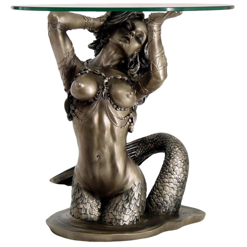 "Mermaid 16"" Tall Glass Top End Table"