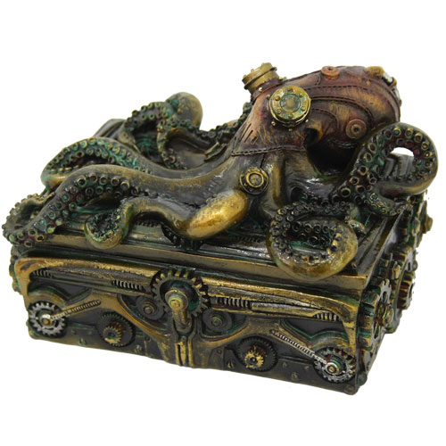Steampunk Octopus Square Stash Box