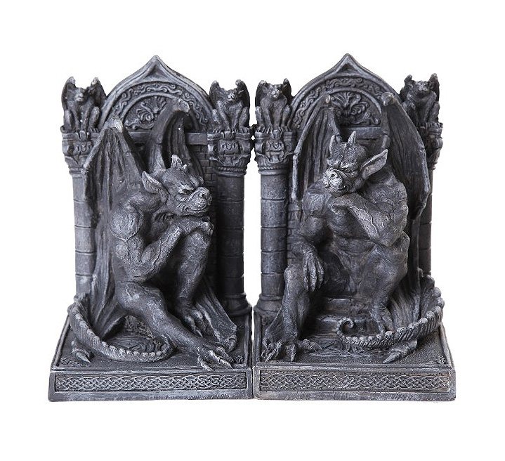 Gargoyle Thinker Bookends Statue Set of 2