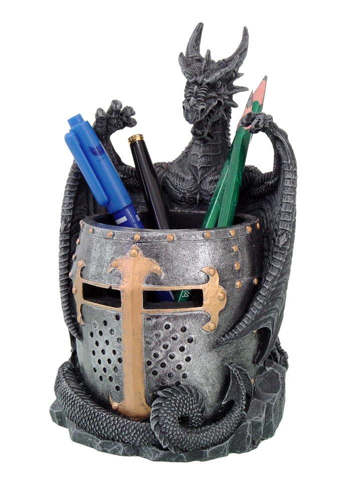 Dragon with Medieval Knight Helmet Utility Holder