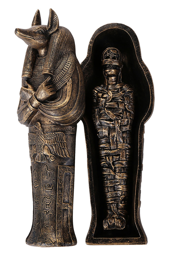 Anubis Egyptian Sarcophagus with Mummy Figure