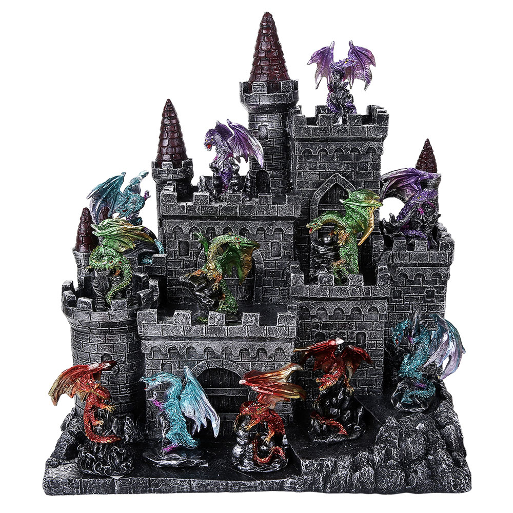 Medieval Castle with 12 Dragon Figures Set