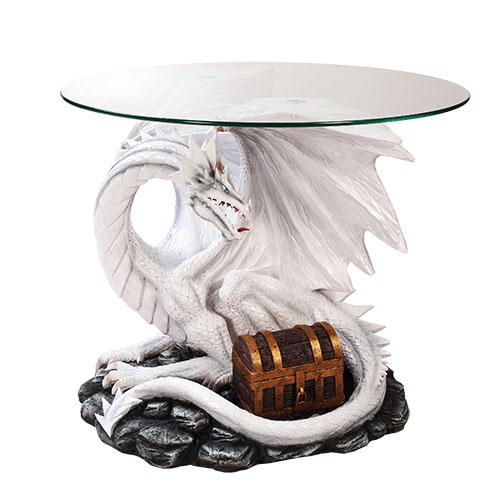 "Dragon With Treasure 19"" Tall Glass Top End Table"