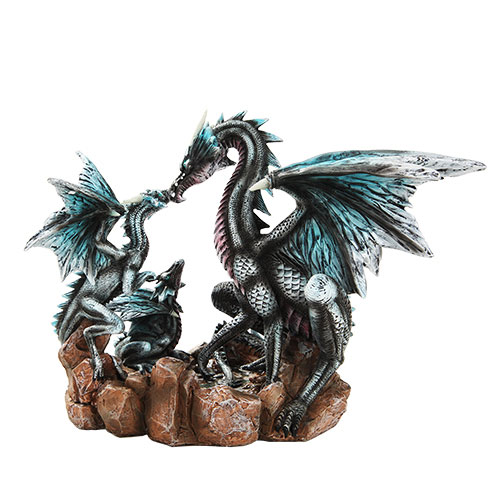 Dragon Family Hand Painted Resin Statue