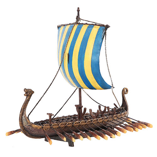 "Viking Long Ship Pre-Painted 12"" Hand Painted Resin Replica"