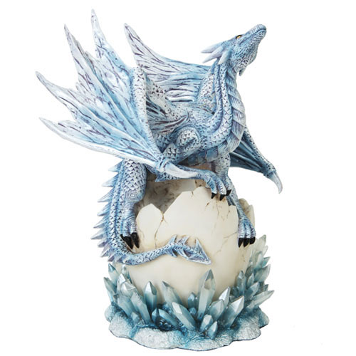 "Dragon Blue Dragon on Hatching Crystal Egg 12"" Statue"