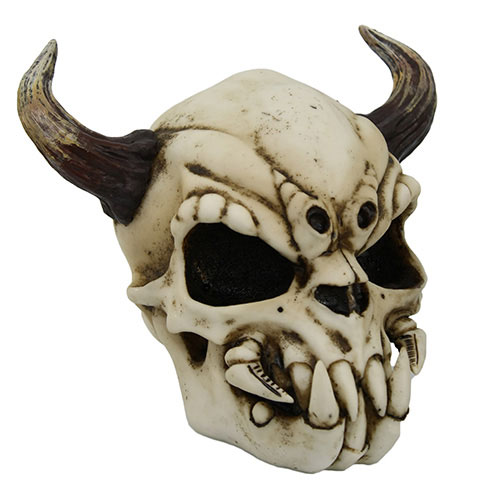 Demon Skull with Horns 7.5 Inch Hand Painted Statue