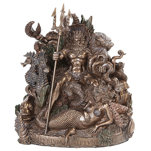 "King Neptune Cold Cast Bronze 10"" Tall Statue"