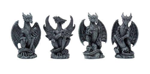 "Dragons Set of 4 Small 4"" Tall Hand Painted Resin Statues"