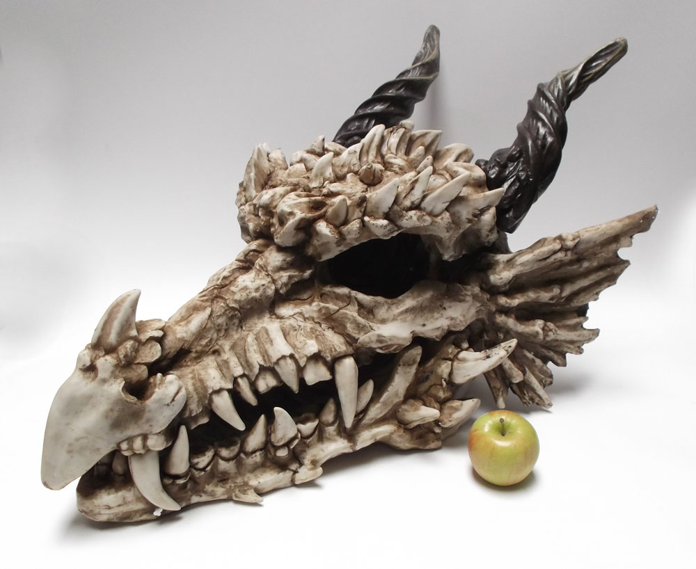 "Dragon Skull 30"" Long Large Size Hand Painted Resin Statue"
