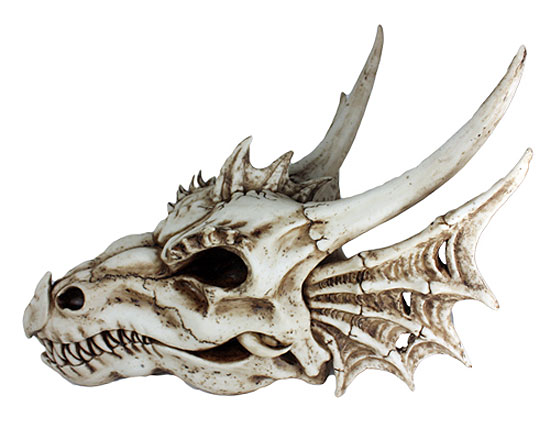 "Dragon Skull 20"" Long Hand Painted Resin Statue"