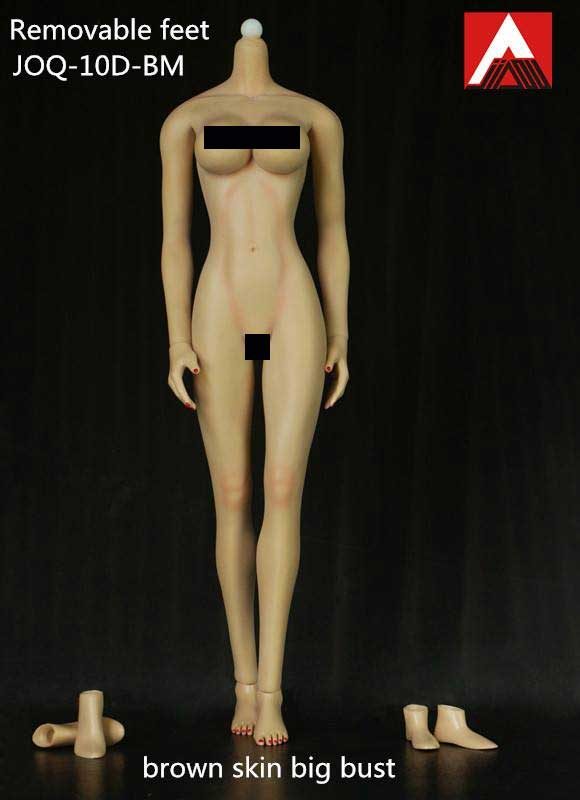 Female Body 1/6 Scale Light Make-Up Brown Skin Big Bust Figure