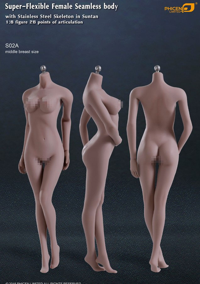 Female Body Super-Flexible Female Seamless 1/6 Scale Body with Stainless Steel Skeleton in Suntan/Medium Breast by Phicen [PL-MB2015-S02A]