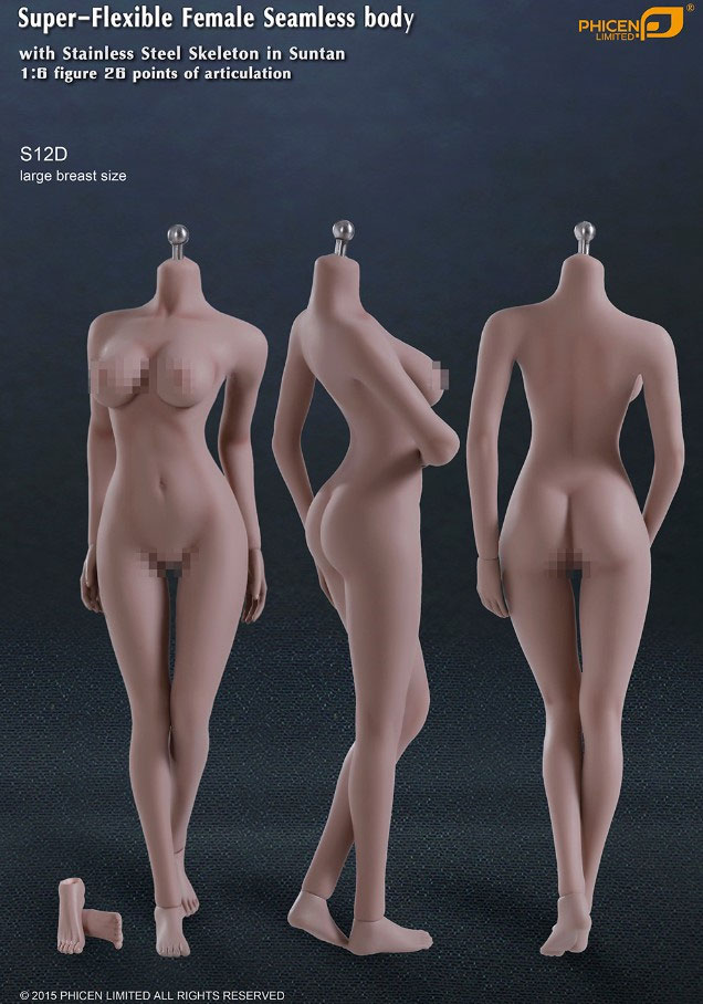 Female Body Seamless Super-Flexible 1/6 Scale Body Large Breast with Removable Feet Stainless Steel Skeleton by Phicen