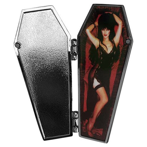 Elvira Mistress of the Dark Open Coffin Red Enamel Pin