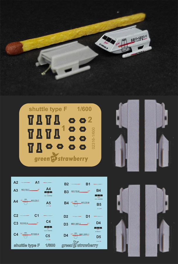 Star Trek TOS Type F Shuttlecraft 1/600 Scale 4 Pack Model Kit with Photoetch and Decals by Green Strawberry