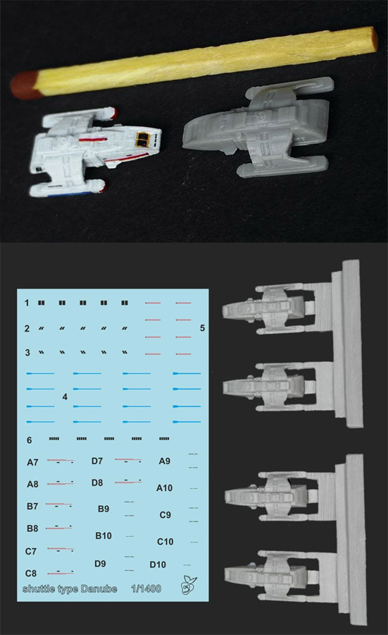 Star Trek TNG Danube Shuttle 1/1400 Scale 4 Pack Model Kit with Decals by Green Strawberry