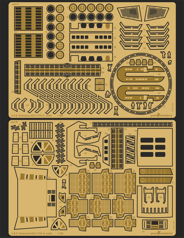Star Trek TOS Enterprise NCC-1701 / NCC-1701-A 1/350 Scale Photoetch Detail Set by Green Strawberry