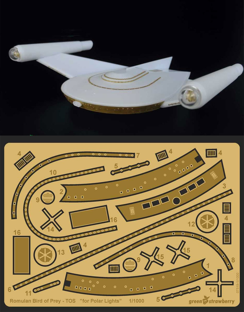 Star Trek Romulan Bird of Prey 1/1000 Scale Photoetch Detail Set by Green Strawberry