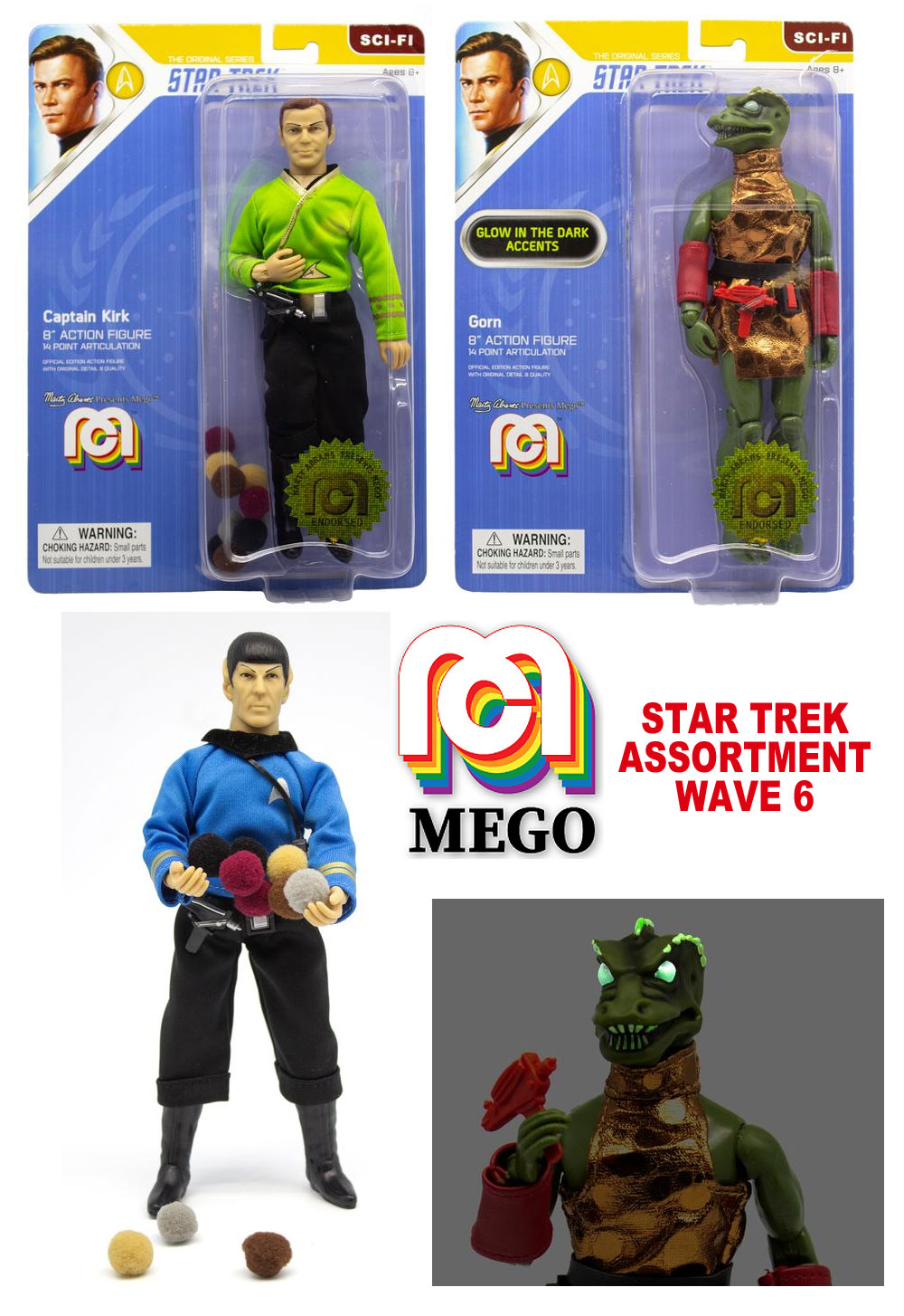 Star Trek Mego Wave 6 Set of 3 Figures Trouble with Tribbles Kirk and Spock plus Gorn - Click Image to Close