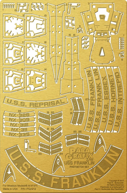 Star Trek Beyond U.S.S. Franklin 1/350 Scale Photoetch Set