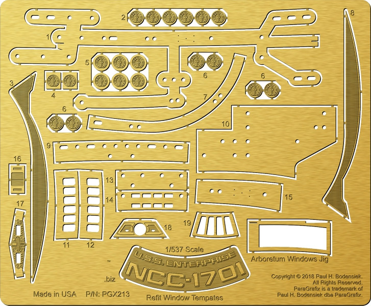 Star Trek U.S.S. Enterprise NCC-1701 Refit 1/537 Scale Window Templates Photoetch Set