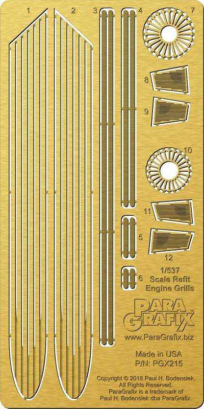 Star Trek U.S.S. Enterprise NCC-1701 Refit 1/537 Scale Engine Grills Photoetch Set