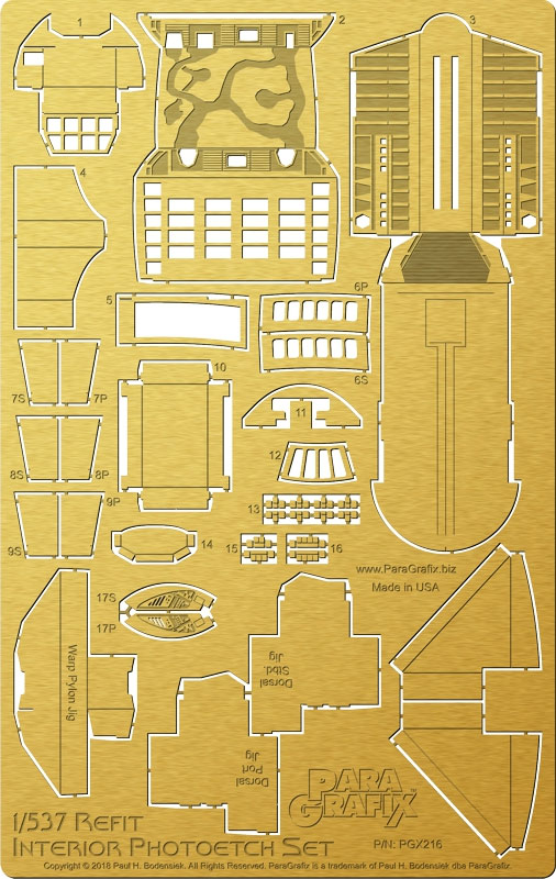 Star Trek U.S.S. Enterprise NCC-1701 Refit 1/537 Scale Interiors Photoetch Set