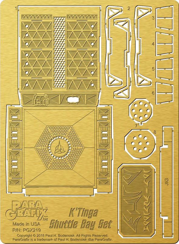 Star Trek The Motion Picture Klingon K't'inga Battlecruiser 1/350 Scale Shuttle Bay Photoetch Set for Polar Lights Model Kit