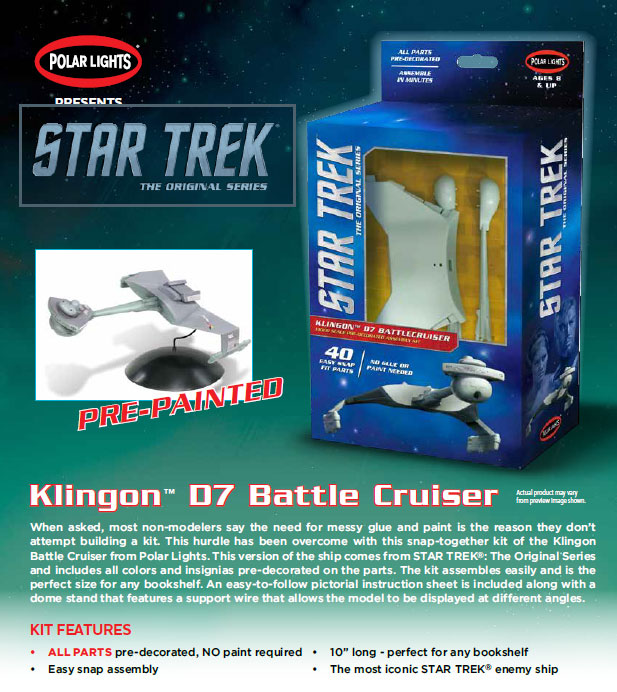Star Trek Klingon D-7 Snap Fit Pre Painted 1/1000 Scale Model Kit