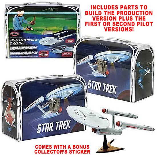 Star Trek TOS Enterprise 1/1000 Scale Model Kit in Tin Lunchbox Packaging