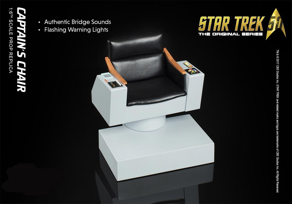 Star Trek TOS Captain's Chair 1/6 Scale Replica with Lights and Sound - Click Image to Close