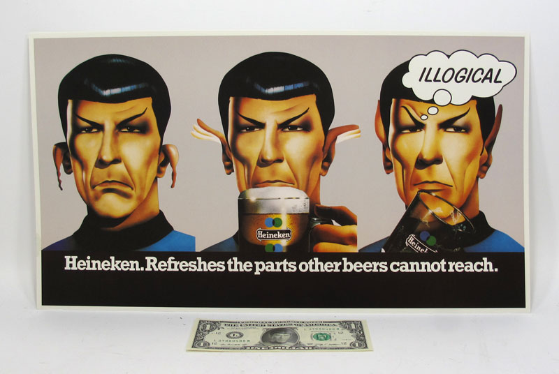 Star Trek Spock Heineken Beer Rare Advertisment Poster