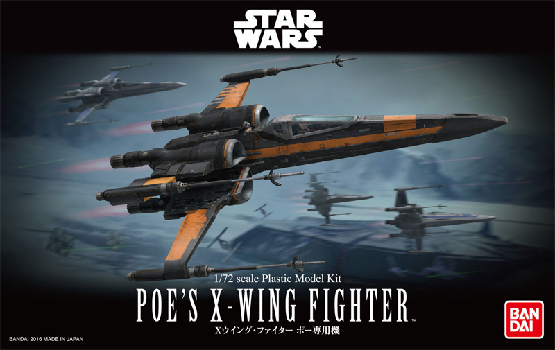 Star Wars The Force Awakens Poe's X-Wing 1/72 Scale Model Kit by Bandai Japan