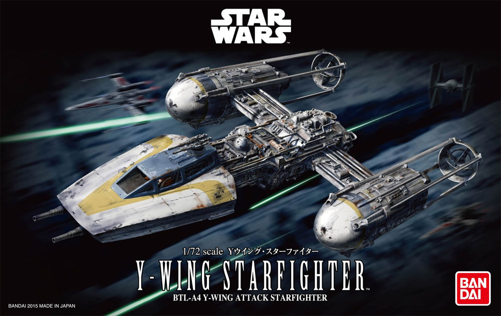 Star Wars Y-Wing Starfighter 1/72 Scale Model Kit by Bandai