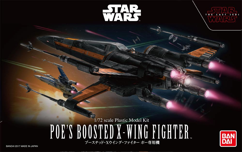 Star Wars The Last Jedi Poe's Boosted X-wing 1/72 Model Kit by Bandai
