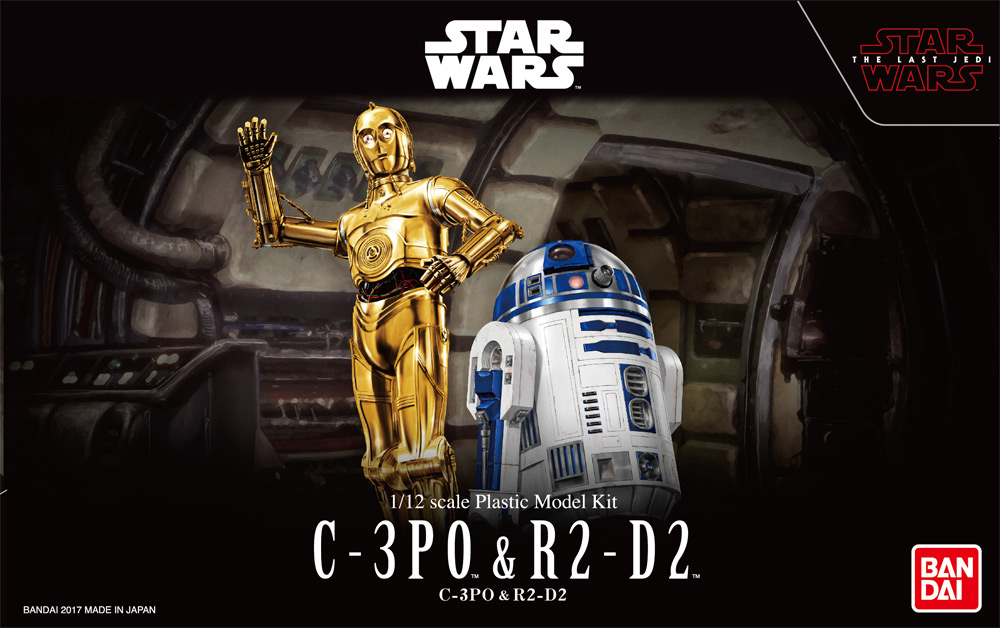 Star Wars The Last Jedi C-3PO and R2-D2 1/12 Scale Model Kit by Bandai