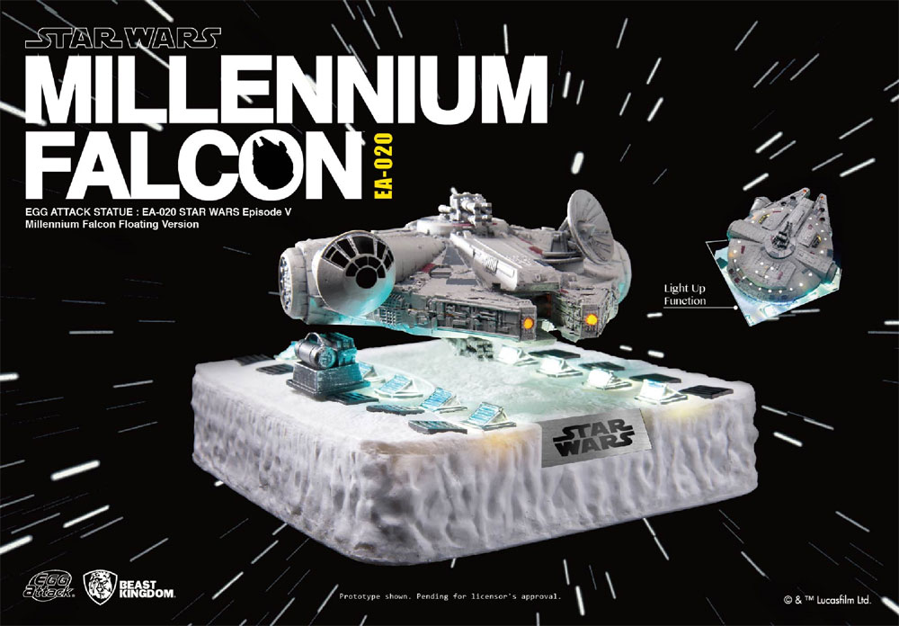 Star Wars Floating Millennium Falcon Egg Attack Statue