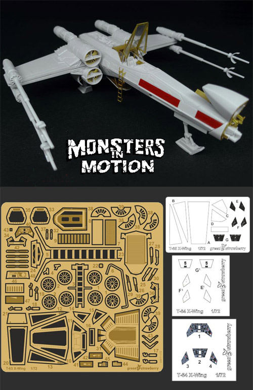 Star Wars X-Wing 1//72 Scale Photoetch and Detail Set by Green Strawberry 26WGS01