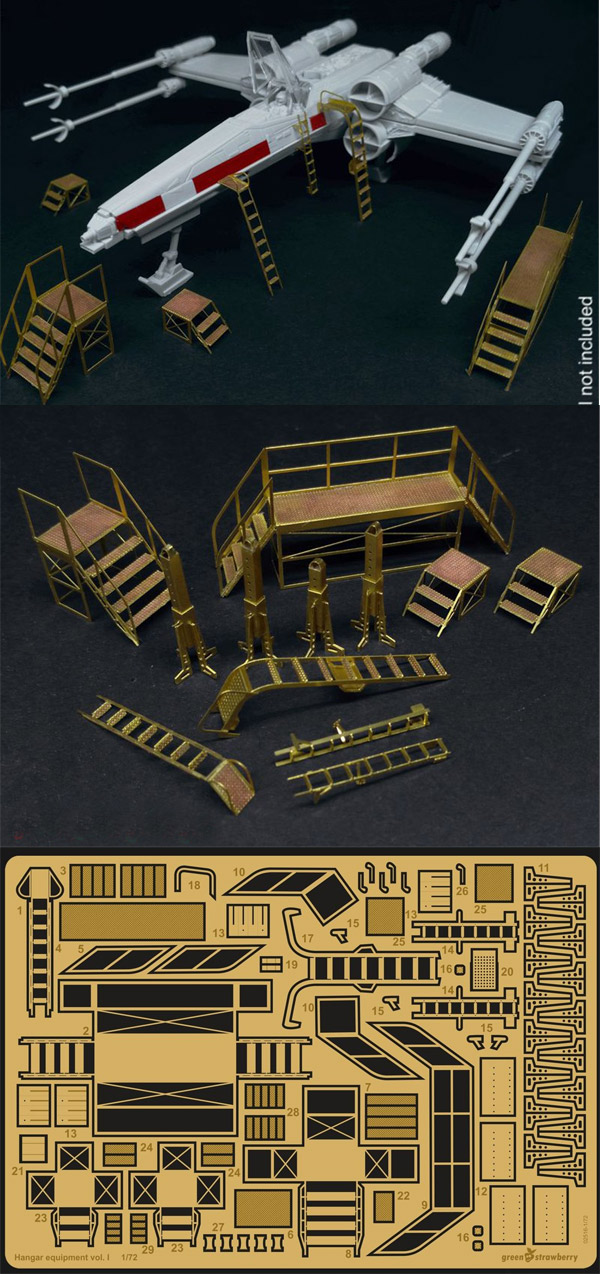 Star Wars Hangar Equipment Vol. I 1/72 Scale Model Kit Photetch Detail Set by Green Strawberry