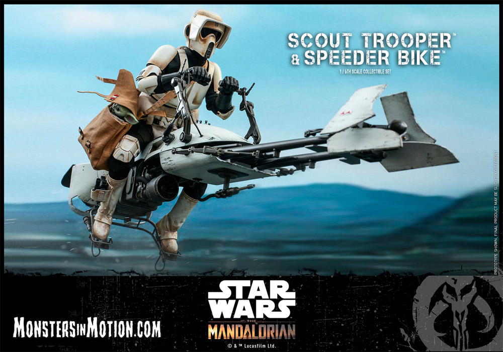 Star Wars Mandalorian Scout Trooper & Speeder Bike with Baby Yoda 1/6 Scale Deluxe Figure by Hot Toys