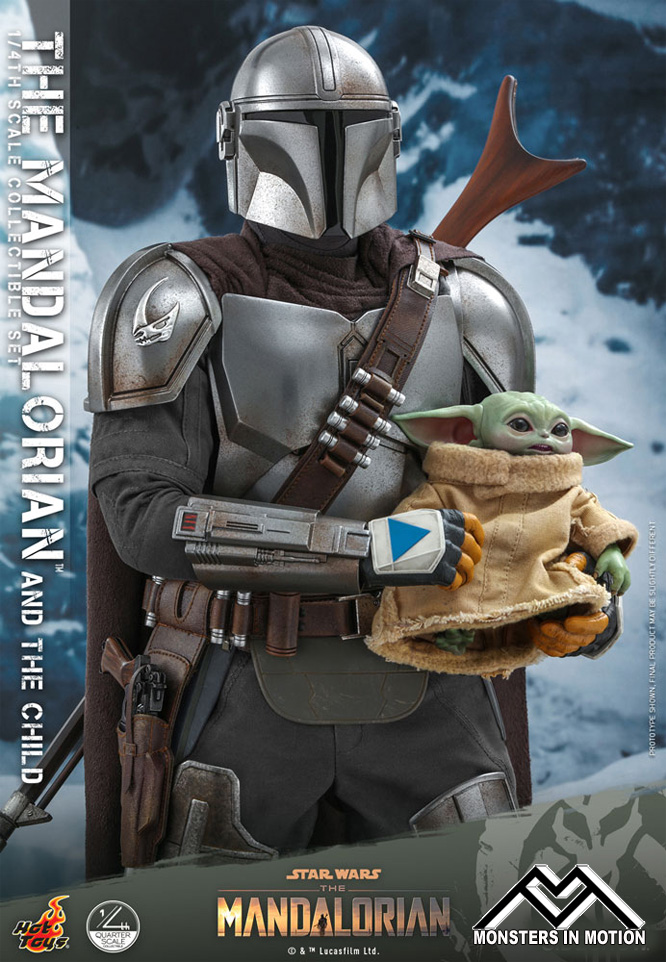 Star Wars Mandalorian and Child 1/4 Scale Figure Set by Hot Toys