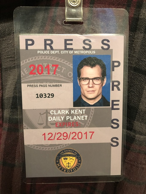 2017 Screen Used Henry Cavill Superman Clark Kent Flannel Wardrobe w/ Press Pass Prop