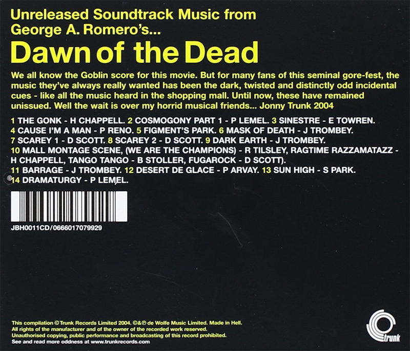 Dawn of the Dead Unreleased Incidental Music Soundtrack CD